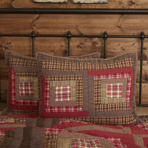 VHC Brands Rustic Standard Sham Red Patchwork Tacoma Cotton Hand Bedroom Decor