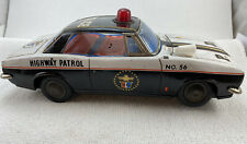 Vintage Trade Mark Modern Toys Tin Battery Operated Police Highway Patrol Car!