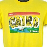 Cairo Illinois T Shirt Vintage 80s Screen Stars Postcard 50/50 Made In USA Large
