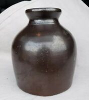 ANTIQUE MUSEUM DEASCESSION STONEWARE SOUTHERN POT BROWN GLAZED CROCK JUG JAR IL