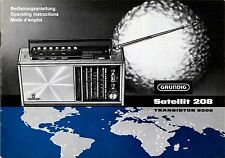 Instructions-Manuale di Istruzioni con Schema Grundig Satellite 208, 6000 transistor