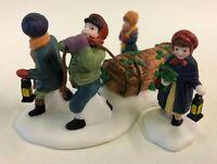Department 56 Bringing Home The Yule Log 55581 Dickens Village Figures Set of 3