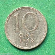 1948 Sweden Silver 10 Ore SNo39770