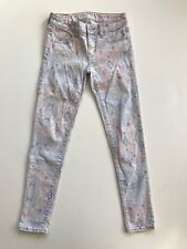 SZ 00 White Paisley Skinny Jeans American Eagle Outfitters Stretch Pastel