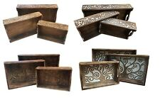 Beautiful Hand Carved Solid Wooden Set Of 3 Serving Tray With Handles Platter