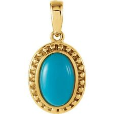 Genuine Turquoise Cabochon Gemstone Solitaire Beaded Pendant in 14K. Yellow Gold