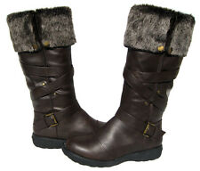 New Women's Knee High Boots Brown Winter Fur Lined Snow shoe Ladies size 7.5