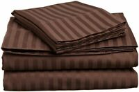 BEST BEDDING COLLECTION 100% Egyptian Cotton 1000 TC USA Sizes Chocolate Stripe