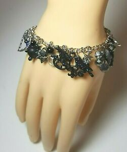 """Halloween Crow Star Blessed Be Hearts Goth Charm Link Bracelet Black Silver 8"""""""