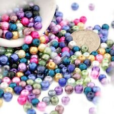 200pcs Mixed Random Glass Pearl Beads Spacer 4mm Round Loose Crafts GP0005