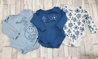 Baby Boy MR MEN Long Sleeved Bodysuits 3-6 Months Blue/White x 3 Bundle Cotton