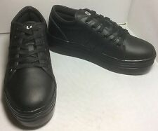 NWOB CUTE TO THE CORE BLACK LEATHER PLATFORM SNEAKERS SZ 7.5
