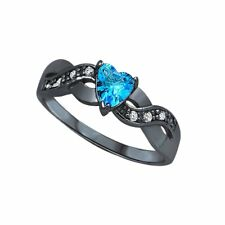 Heart Promise Ring Simulated Blue Topaz CZ Sterling Silver Infinity Twist Shank