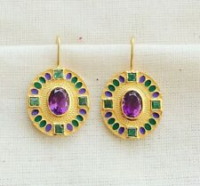 SUPERB HANDCRAFTED EMERALD,AMETHYST & 14K YELLOW GOLD VERMEIL ENAMELED EARRING