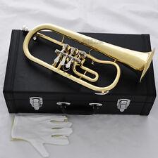 High Grade Rotary Valves Flugelhorn Gold Bb Fluge Horn with case