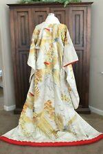 Vintage Kimono Classic Uchikake Wedding Embroidered Overcoat White Gold Silver
