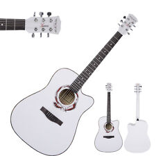 Brand New Adult Size Cutaway Acoustic Guitar White