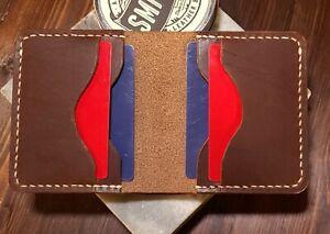 Handmade genuine leather bifold men's wallet. Horween brown nut, 3.5-4oz.