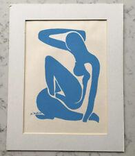 VINTAGE HENRI MATISE MCM MID CENTURY MODERN ART BLUE NUDE PRINT SERIGRAPH