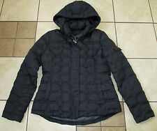 Womens Trendy TOMMY HILFIGER BLACK QUILTED DOWN Zip JACKET With HOOD Sz L