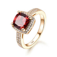 8mm Ruby Red Sapphire Mated Zircon Gold Filled Women Lady Finger Rings Jewelry