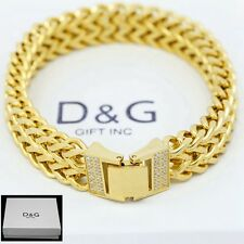"NEW DG Gift Inc 8.25"" Men Gold Stainless Steel 12mm Franco CZ Chain Bracelet+Box"