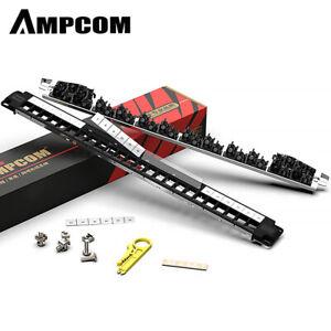 AMPCOM 1U 24 ports unloaded Blank Cat6 Network Patch Panel Cord Panel