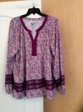 New Kim Rogers- Purple/multi Color/floral/lace Women Top Plus Size 1X