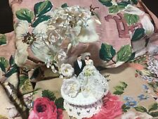 Vintage Bridal~Wedding Cake Topper w Lily of the Valley~Roses~Lace~Netting~Bell