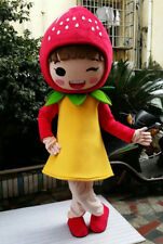 Strawberry Girl Mascot Costume Fruit Cartoon Adults Cosplay Party Fancy Dress UK