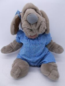 """Vintage Ganzbros 1981 WRINKLES Plush Dog Puppet With Blue Shirt and Shorts 16"""""""