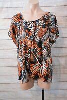Suzanne Grae Top Size Xl 16 18 Orange Grey Black Kaftan Blouse