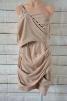Nicola Finetti Pencil Dress Cocktail One Shoulder Size 12 10 Beige Nude Drape