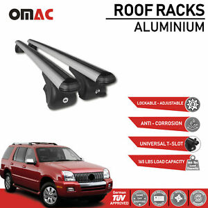 Roof Rack Cross Bars Luggage Carrier Silver Set for Mercury Mountaineer 2002-10
