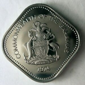 1974 BAHAMAS 15 CENTS - Low Mintage Proof Coin - Low Mintage - Bahamas Proof Bin