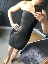 BNWT Halston Heritage Black Leather Strapless Mini Cocktail Dress - Size 2