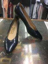 SALVATORE FERRAGAMO Women's Size 10 Blue Patent Leather Low Kitten Heels