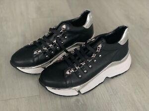 Karl Lagerfeld Aventur Leather Trainers Women's Metal Stud Size Uk 7 Eu 40 NEW!!