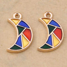 Colourful Enamel Charm Moon Pendant Accessories Jewelry Making Crafts 1075H