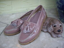 RUSSELL & BROMLEY BLUSH PATENT LEATHER LOAFERS PINKY TAUPE LEATHER CAR SHOES ~ 2