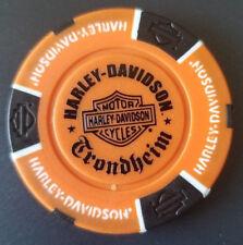 Harley Poker Chip~Golf Ball Marker (Orange/Black) HD TRONDHEIM ~ NORWAY