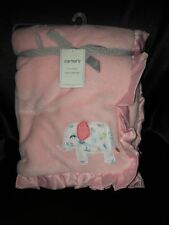 Carter's Pink Flowered Elephant Blanket With A Pink Ruffle New With Tags