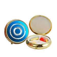 Round Pocket Size 3 Compartment Fashion Pill Case with Press Button Release lid