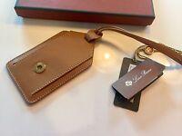 175$ Loro Piana Tan Leather Name Tag Made in Italy