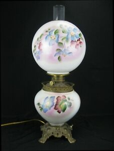 Antique Converted Electric Globe Style Hurricane Lamp Hand-Painted Floral