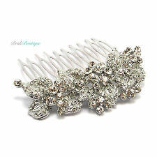Bridal Wedding Vintage Silver Leaf Crystal Diamante Hair Comb Slide HC41
