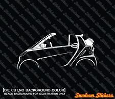 2x car silhouette stickers - for Smart Fortwo cabrio / convertible W451