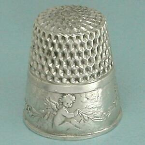 Antique Sterling Silver Seated Cupids Child's Thimble by Webster Co * Circa 190