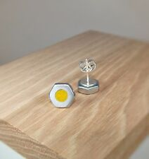 Silver Hex Nut Stud Earrings With Citrine Yellow Pearl Acrylic Inlay ~ Handmade