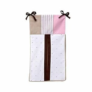 Nautica Kids  DIAPER STACKER  ISABELLA Pink Brown Stripe Polka Dots Patchwork
